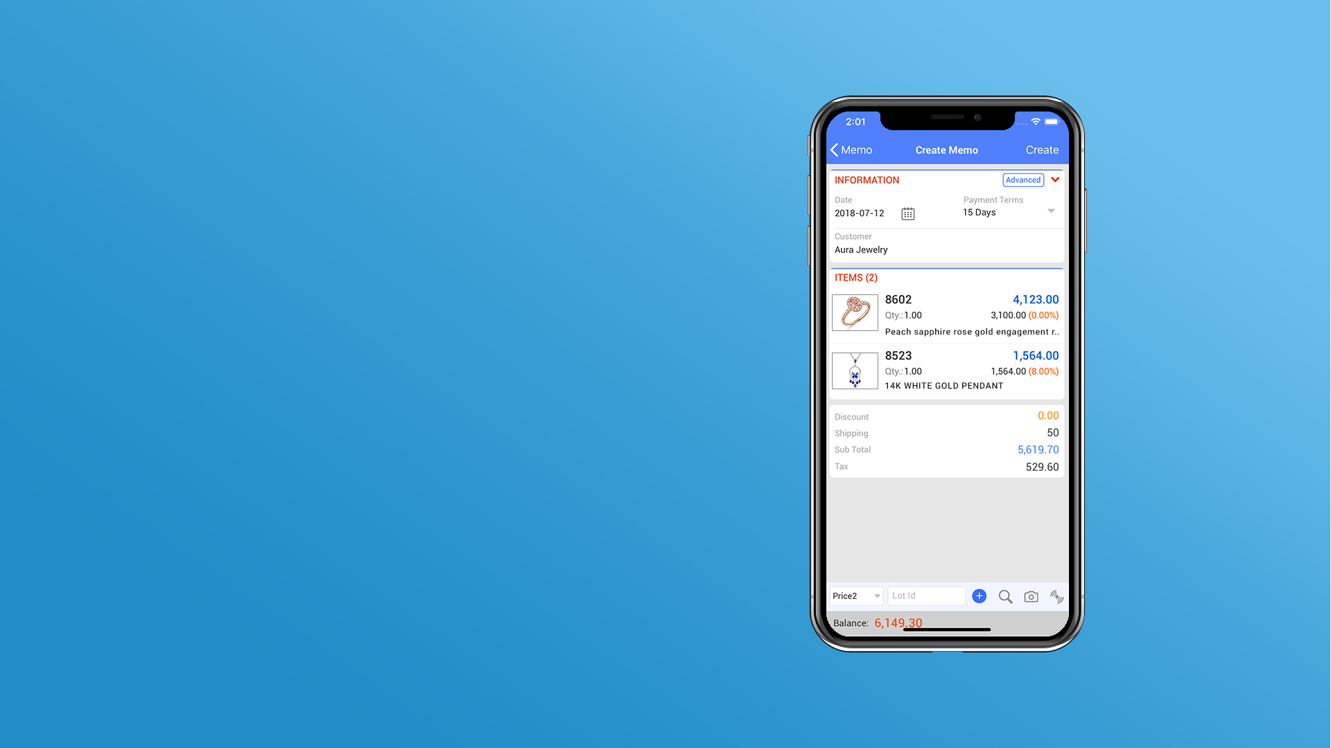 Create Memo right from the app